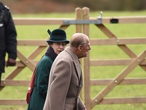 The Princess Royal and the Duke of Edinburgh at St Mary Magdalene Church at Christmas 2017