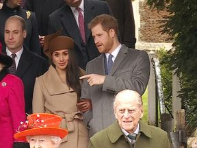 Prince Harry and Meghan Markle after the Christmas day church service