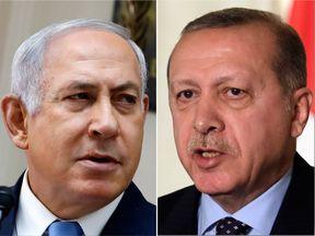 Israeli Prime Minister Benjamin Netanyahu (L) and Turkish President Recep Tayyip Erdogan