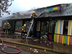 Picture the scene of a fire brought under control at London Zoo. Pic: LFB