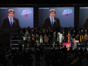 Carles Puigdemont has rallied via video link throughout his campaign