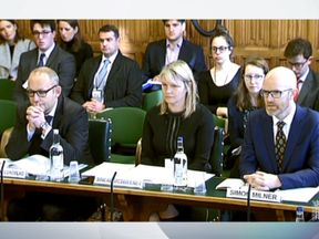 Social media companies were grilled by a Parliamentary inquiry. Pic: Parliament TV