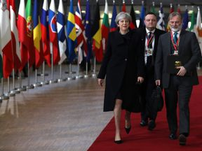 The dinner came on Theresa May's last day at the Brussels summit