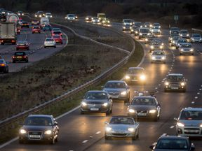 Embargoed to 0001 Friday December 22 File photo dated 19/12/14 of motorway traffic , as Dr Graham Cookson, chief economist at transportation analysts Inrix has warned that drivers embarking on the Christmas getaway have until lunchtime to avoid severe jams on many roads.