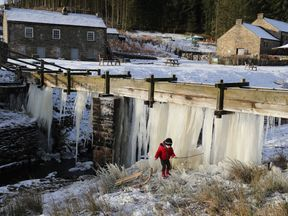 A wall of icicles at Killhope mine in County Durham