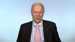 Transport Secretary Chris Grayling MP talking in the Millbank studio.