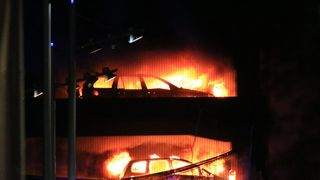 It is believed the blaze started in a Land Rover on the third level of the car park