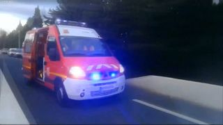 An ambulance at the scene
