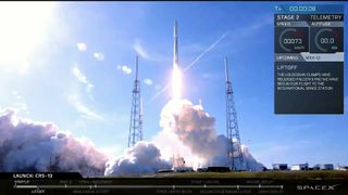The Falcon 9 takes off from Cape Canaveral in Florida