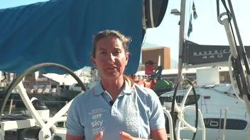 Dee Caffari,  skipper of Turn the Tide on Plastic racing yacht