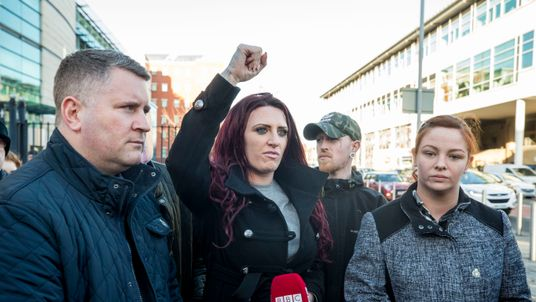 Britain First's Jayda Fransen and Paul Golding leaving Belfast Magistrates' Court