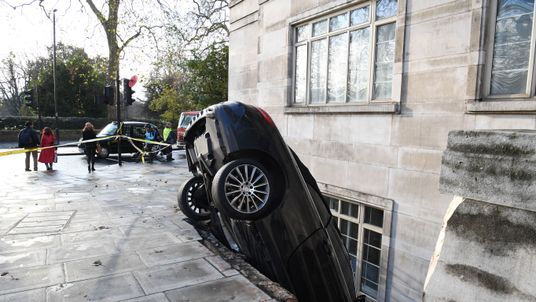 The Mercedes crashed through railings in London