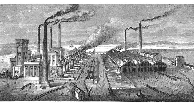 19th century illustration of Barrow hematite steel works, Cumbria, England. Published in 'The Practical Magazine, an Illustrated Cyclopedia of Industrial News, Inventions and Improvements, collected from foreign and British sources for the use of those concerned in raw materials, machinery, manufactures, building, and decoration.'  (Wedwood, Watt & Co./ W.P. Bennett & Co., London/Birmingham, 1873)..