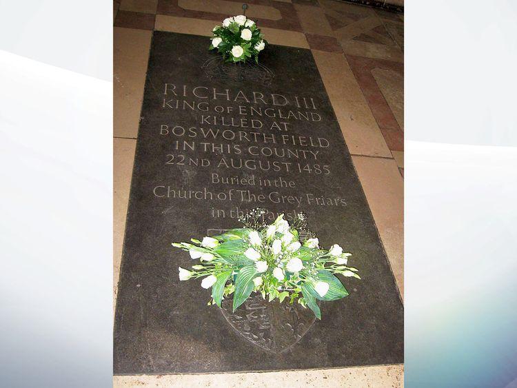Richard III memorial stone on glass