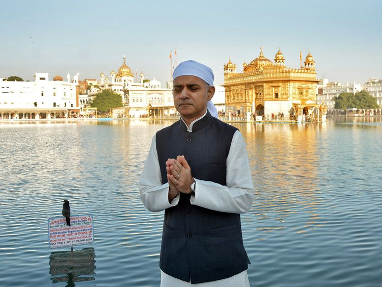 London Mayor Sadiq Khan at the Golden temple in Amritsar