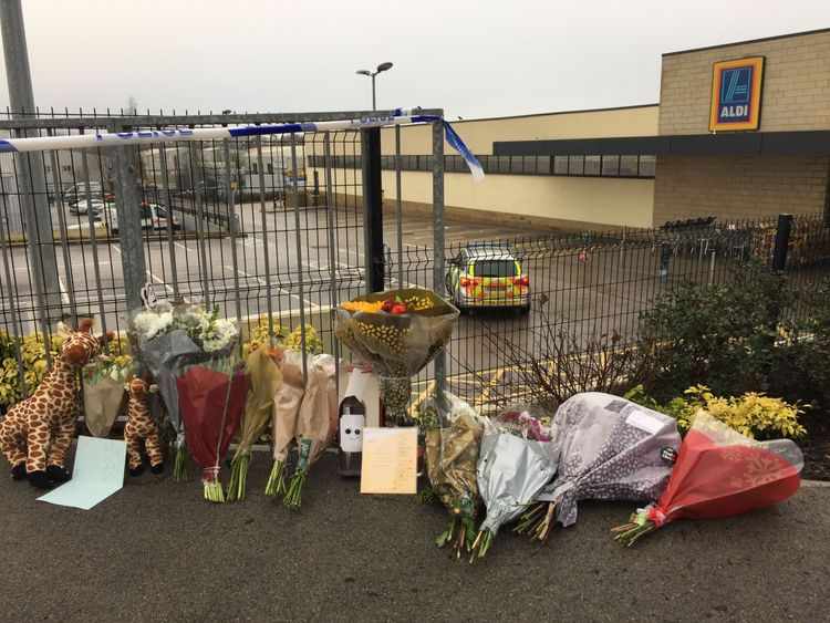 Floral tributes at Aldi in Skipton