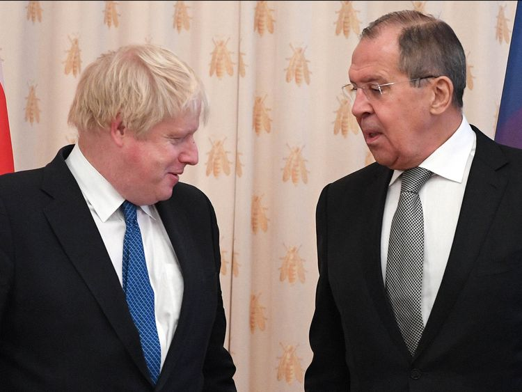 Boris Johnson meets his Russian counterpart Sergei Lavrov
