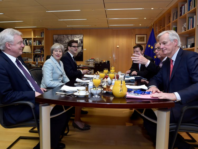 David Davis, Theresa May, European Commission President Jean-Claude Juncker and European Union's chief Brexit negotiator Michel Barnier