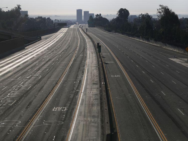 The city's main road, I-405, was closed