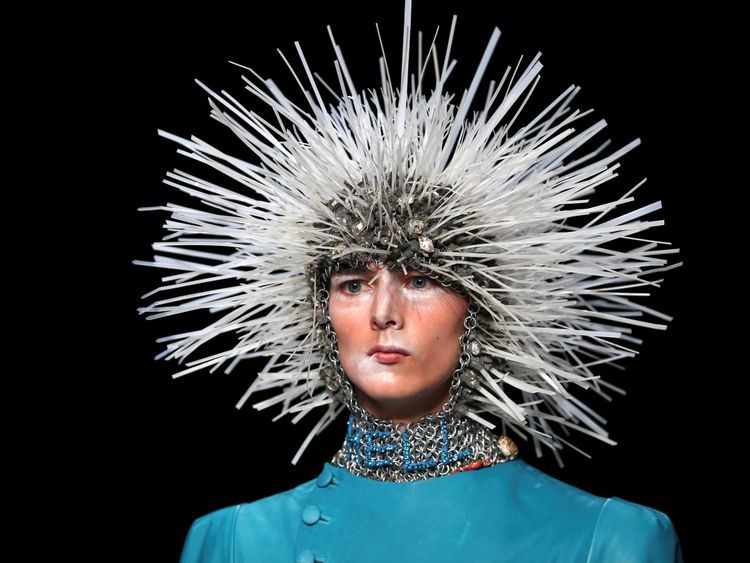 A model presents a creation at the MAN catwalk show at London Collections Men in London, Britain June 10, 2016