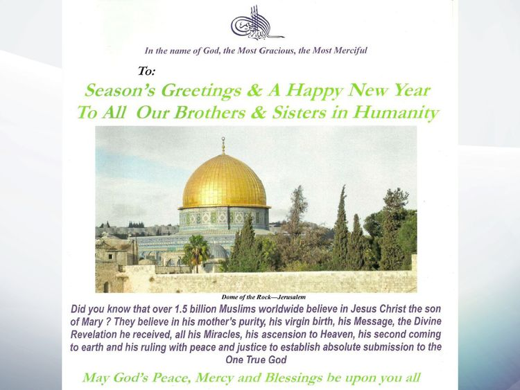 Pope and queen among thousands sent islamic christmas cards by the cards39 creator said muslims believed in jesuss miracles as well as his m4hsunfo