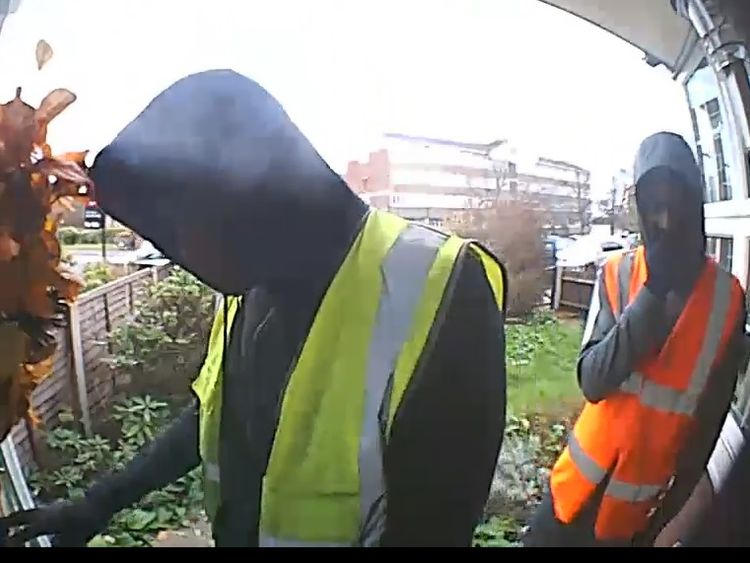 CCTV images released by the Metropolitan Police of two suspects wanted in connection with a kidnapping in Croydon