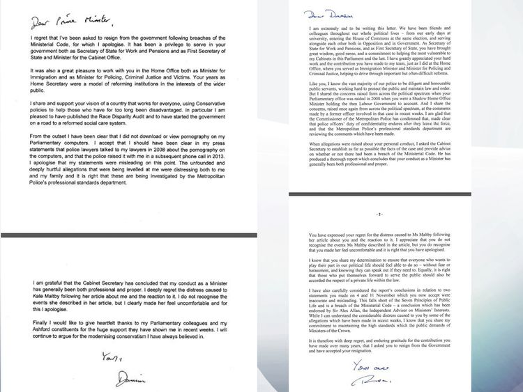 Damian Green and Theresa May letters