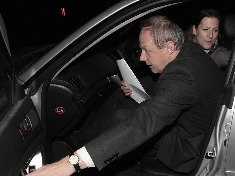 Damian Green, who has resigned, gets into a car