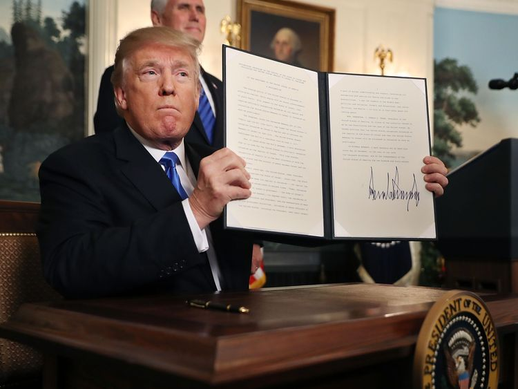 U.S. President Donald Trump announces that the U.S. government will formally recognize Jerusalem as the capital of Israel in the Diplomatic Reception Room at the White House