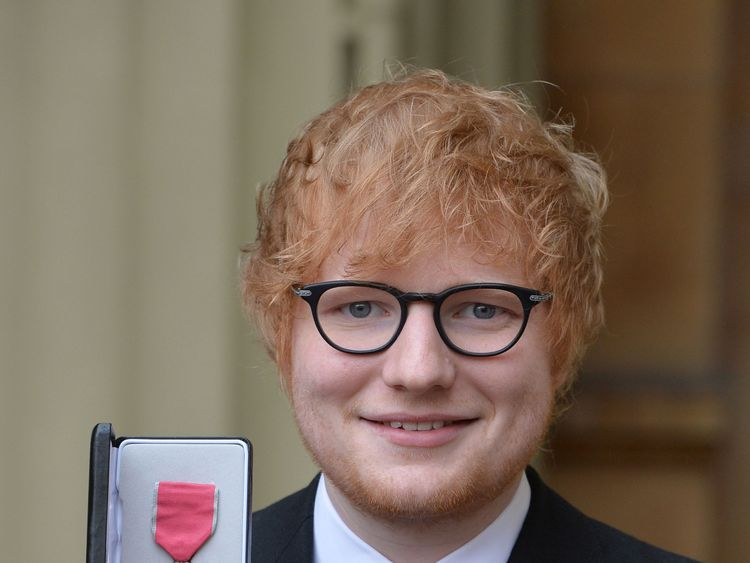 Ed Sheeran got his MBE from the Prince of Wales on Thursday