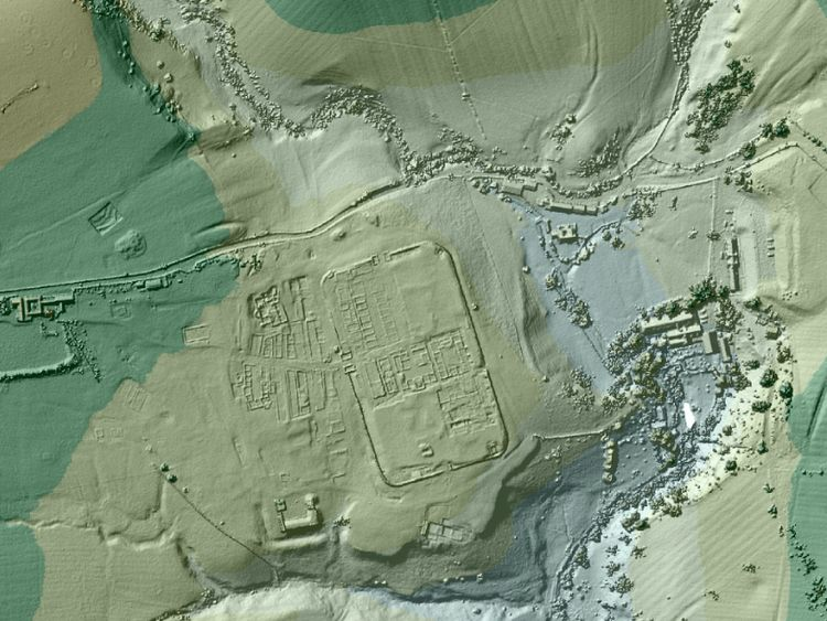 The data has previously uncovered Vindolanda Roman fort, just south of Hadrian's Wall. Pic: Environment Agency