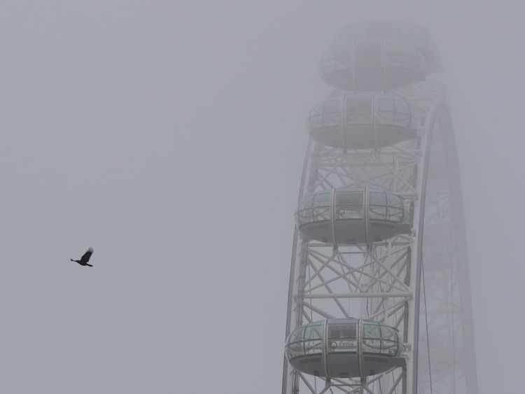 Fog hangs low over the London Eye on October 26, 2017 in London, England