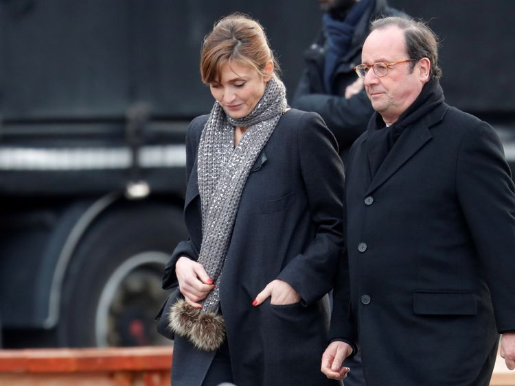 Former president Francois Hollande and his wife Julie Gayet joined mourners
