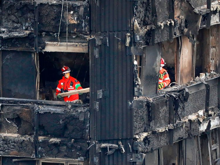 Mrs May praised the emergency services who tackled the Grenfell Tower fire