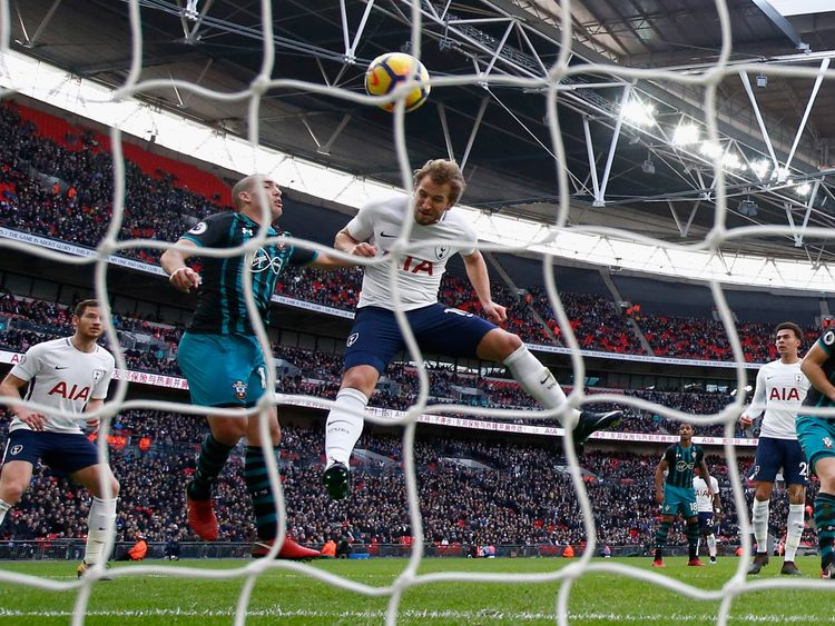 Kane of scores his sides first goal at Wembley