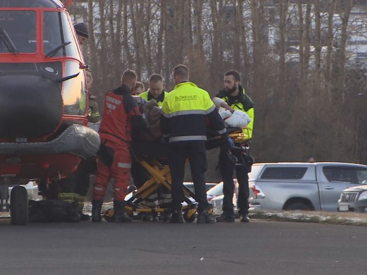 The patients were transported to hospital by helicopter