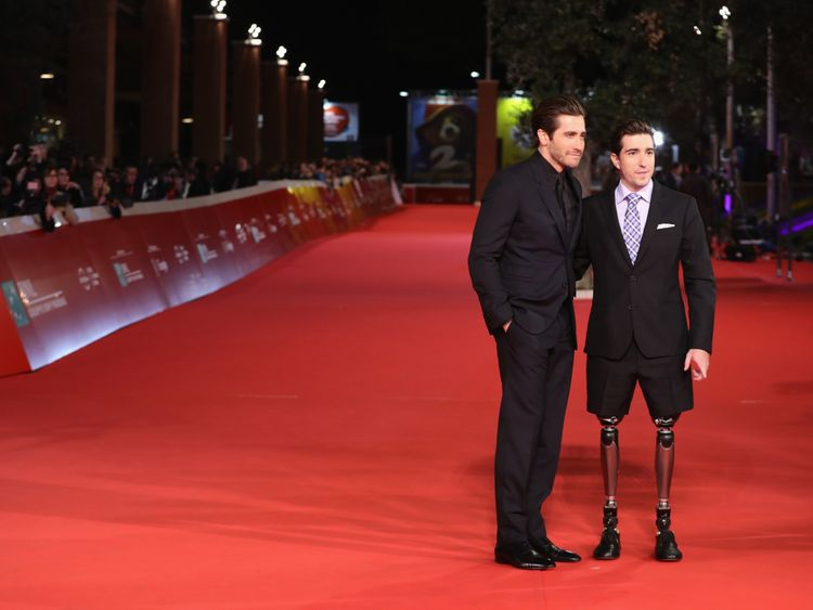 walks a red carpet for 'Stronger' during the 12th Rome Film Fest at Auditorium Parco Della Musica on October 28, 2017 in Rome, Italy.