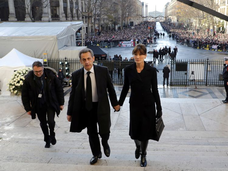 Former president Nicolas Sarkozy and his wife Carla Bruni attended