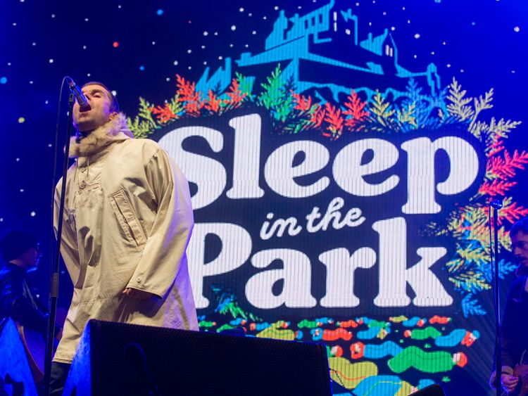 Liam Gallagher on stage in Princes Street Gardens in Edinburgh at the Sleep in the Park event. PRESS ASSOCIATION Photo. Picture date: Saturday December 9, 2017. The Sleep in the Park event aims to raise £4 million to end rough sleeping and homelessness in Scotland. See PA story CHARITY Sleepout. Photo credit should read: Jeff Holmes/PA Wire NOTE TO EDITORS: This handout photo may only be used in for editorial reporting purposes for the contemporaneous illus