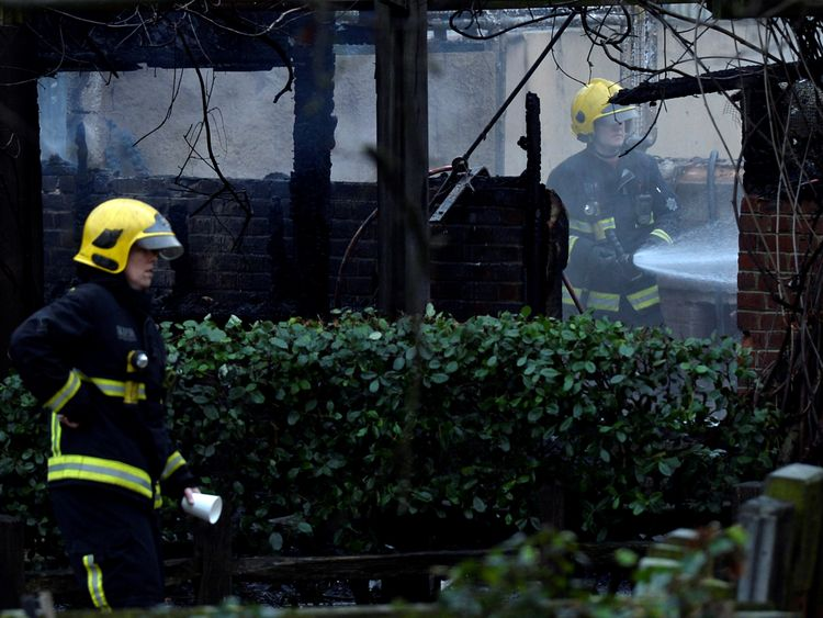 Firefighters attend a blaze at London Zoo following a fire which broke out at a shop and cafe