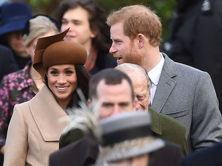 Meghan Markle and Prince Harry arrive at church on Christmas day