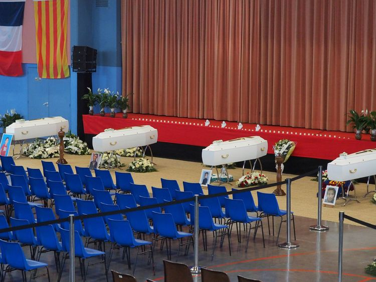 Coffin of victims killed in a collision