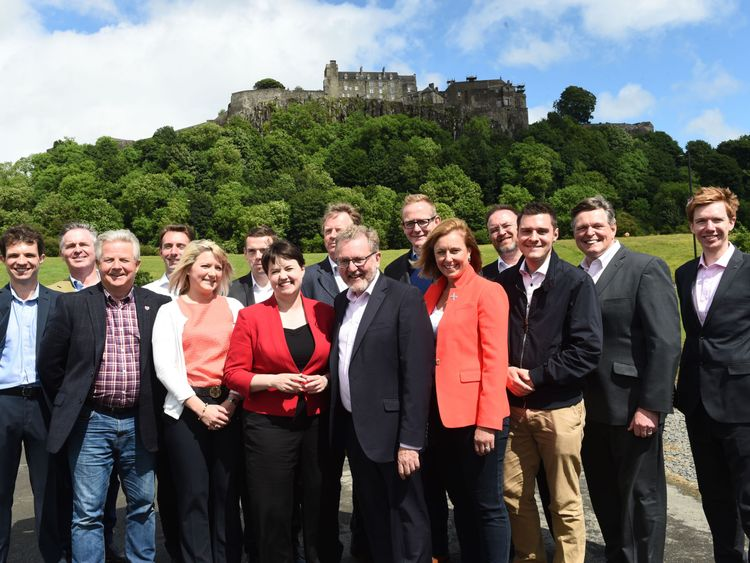 Scottish Conservative leader Ruth Davidson at a photo call with the party's newly-elected members of parliament in June 2017.