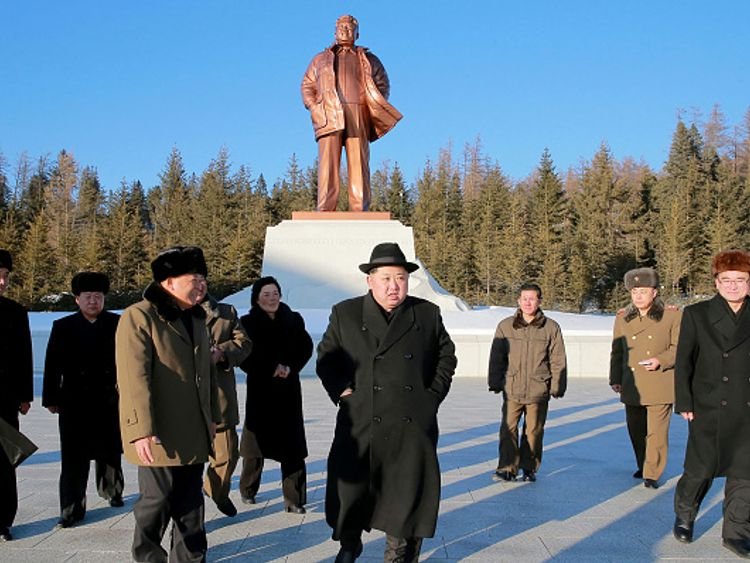 North Korean leader Kim Jong-Un visiting Samjiyon County in Ryanggang Province