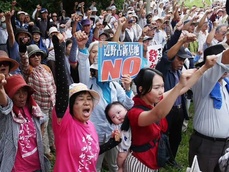 Many people on Okinawa are against the US military presence on the island