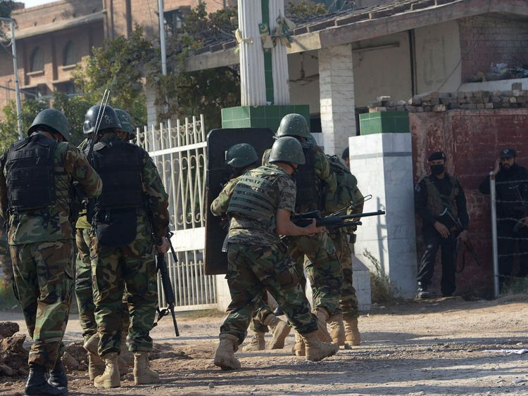 Troops faced the gunmen in a firefight