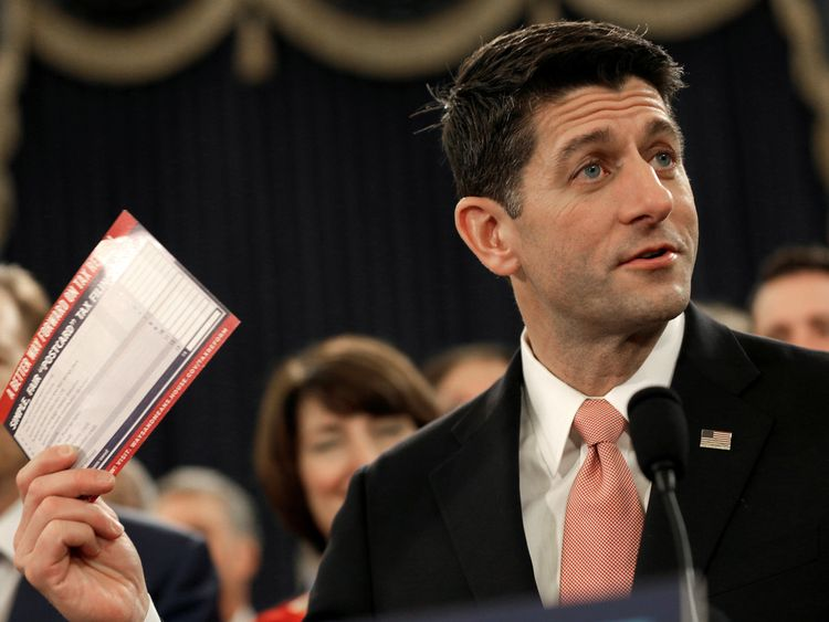 Speaker of the House Paul Ryan on the day he unveiled legislation to reform the tax system