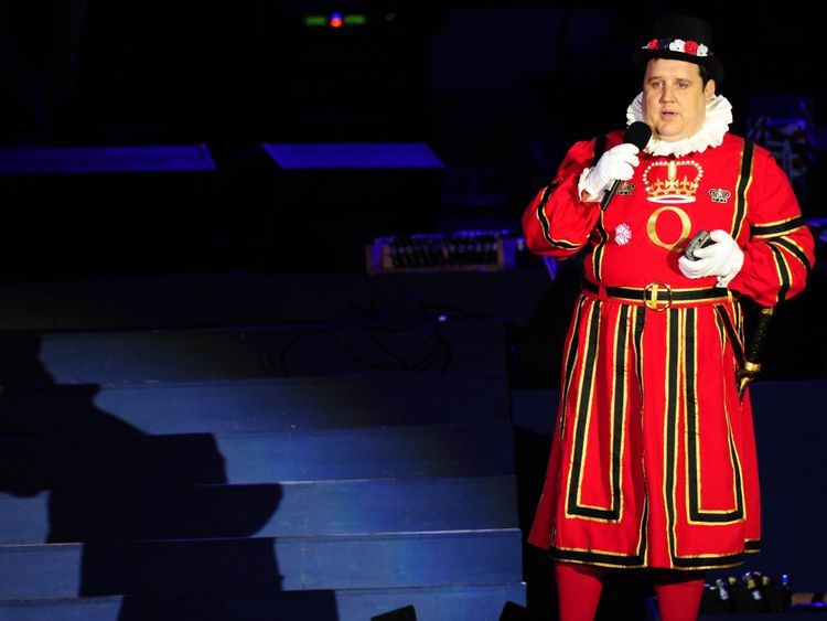 Peter Kay on stage outside Buckingham Palace during the Diamond Jubilee Concert in 2012