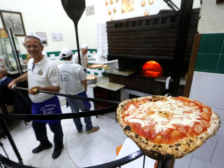 Pizza Margherita at L'Antica Pizzeria da Michele in Naples, Italy