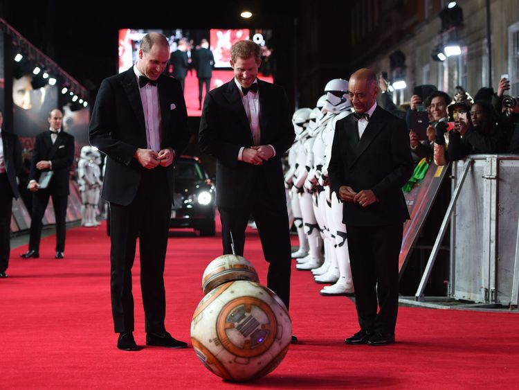 Harry and William attend Star Wars premiere